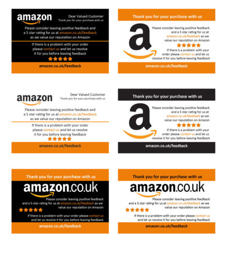 350gsm single sided wide range of templates Personalised Amazon Thank You Cards
