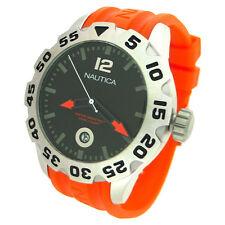 Nautica BDF 100 Rotating Bezel Black Dial Orange Resin Band Men Watch N14603G