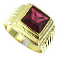 Square Cut Ruby Red Stone 18kt Gold Plated Mens Ring