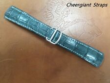 Cartier BALLON BLEU gray padded crocodile watch strap Cheergiant strap卡地亞藍氣球鱷魚錶帶
