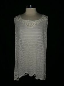NEW-TORRID-Plus-Size-4-4X-Tank-Top-Gray-Ivory-Lace-Stripe-Floral-Sleeveless-USA