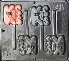 """Kiss"" Pop Lollipop Chocolate Candy Mold Valentine  220 NEW"