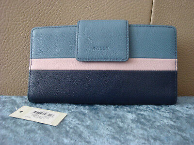 cf4ae0276c2e Fossil Emma RFID Tab Wallet~Blue/Mullti-Color~NWT!!!MSRP$70 | eBay