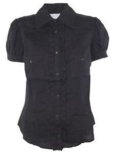 pennyblack-max-mara-camicia-blusa-donna-nero-lino-taglia-it-40-44-small-large
