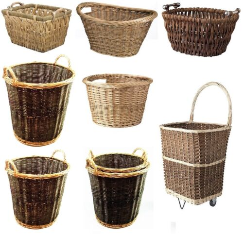 Large Wicker Woven Willow Basket Cart Store Handle Log Toy Laundry Hamper Value