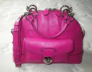 NWT COACH Ltd Ed FRANCINE FUSCHIA PINK BOWLING DOME TOTE BAG PURSE ... fd35399ac5b3f