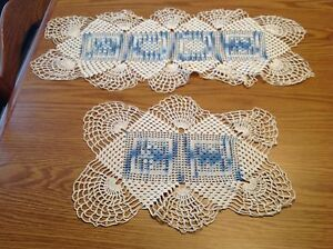Vintage-hand-crocheted-Doily-Very-Clean-White-and-Blue-Rectangle-Two-Doilies