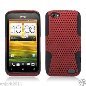 HTC-ONE-V-MESH-HYBRID-HARD-CASE-SKIN-COVER-ACCESSORY-RED-BLACK