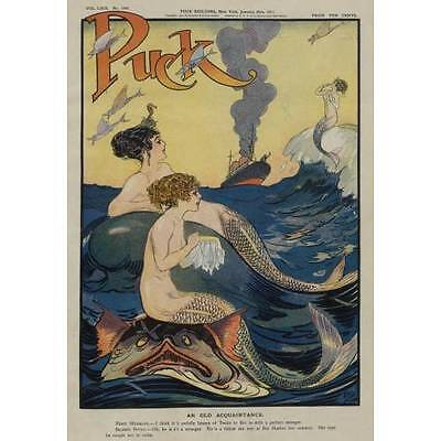 NEW! Vintage Puck Magazine Cover Mermaids Gossiping In The Sea Art Print Poster