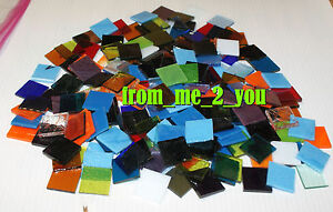 200 ONE INCH STAINED UROBOROS ART GLASS SQUARES for MOSAICS not scrap hr