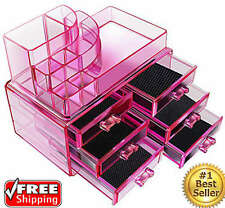 Pink Acrylic Make up Organizer Jewelry Case Box Cosmetic Storage Display Drawer
