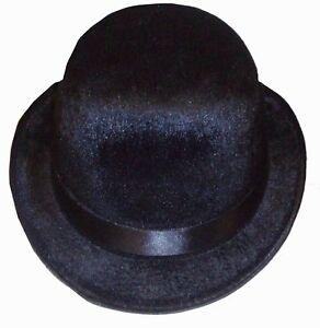 0743ab7e442 Image is loading Black-Velour-Bowler-Derby-Posh-Gentleman-Charlie-Chaplin-