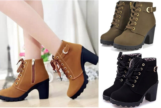 Girl's Woman Women High Heel Ankle Boots Ladies Shoes Leather Winter Rain Snow