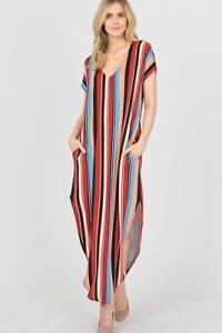 NWT Red/Multi Color Stripe Short Sleeve V-Neck Maxi Dress w/Pockets