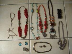 Lot-bijoux-fantaisie-collier-sautoir-boucle-d-039-oreilles-bracelet