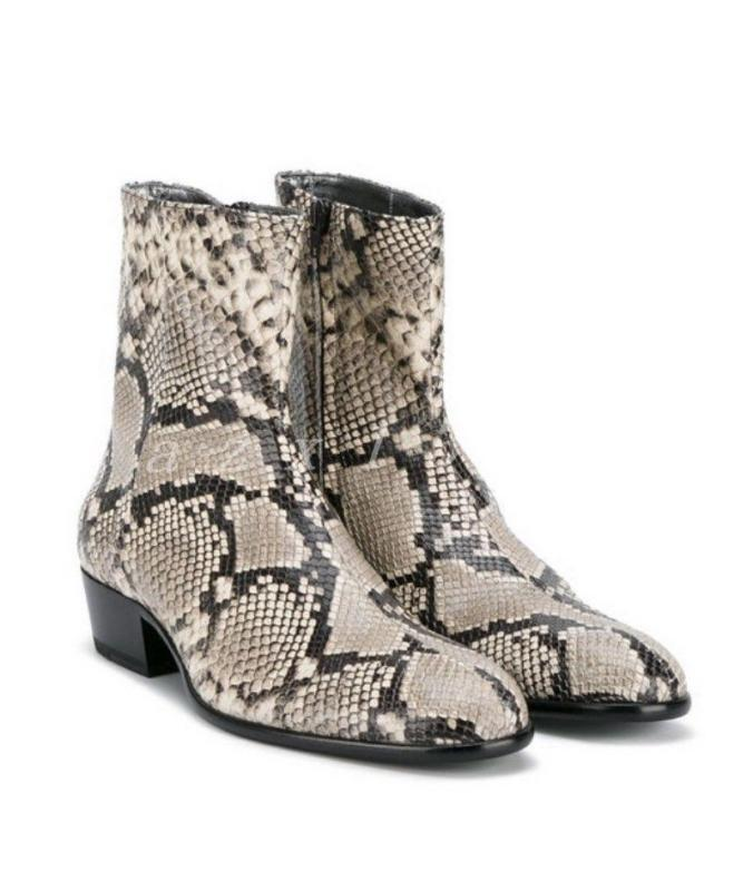 Uomo Euro Pointy Toe Snake Skin Pattern Chelsea Ankle Stivali Pelle Shoes Chz19