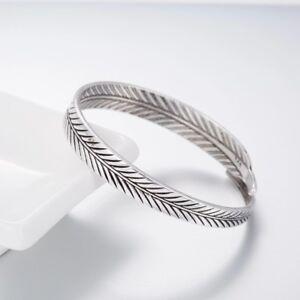 925-Sterlingsilber-Damen-Armreif-Armband-Feder-Feather-Silber-Vintage-Filigran