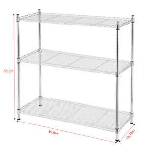Details about 3-Tier Layer Shelf Adjustable Shelves Stainless Steel Shelf  Kitchen Storage Rack