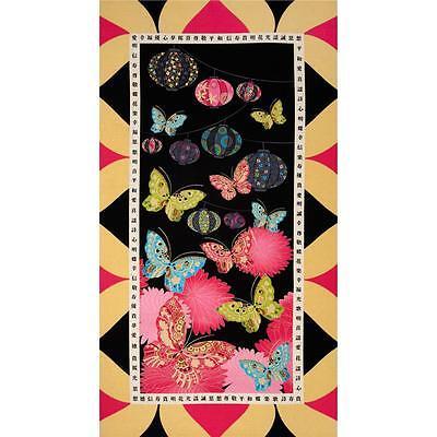 Sakura Metallic  Kimono  Fabric Panel by Benartex 100% Cotton