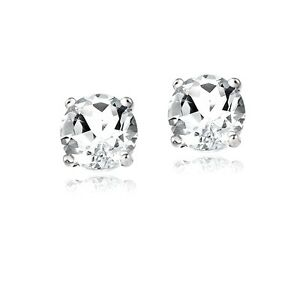 Details About 2ct White Topaz 925 Sterling Silver Stud Earrings 6mm