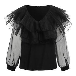 US Womens Long Sleeve Casual Shirt Crochet Blouse Ruffle Party Holiday Tops Tee