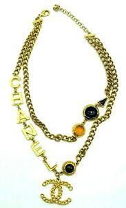 Womens-Designer-CHANEL-Necklace-Gold