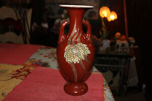 Asian Chinese Japanese Satsuma Moriage Vase Lamp Body With Handles Red Color