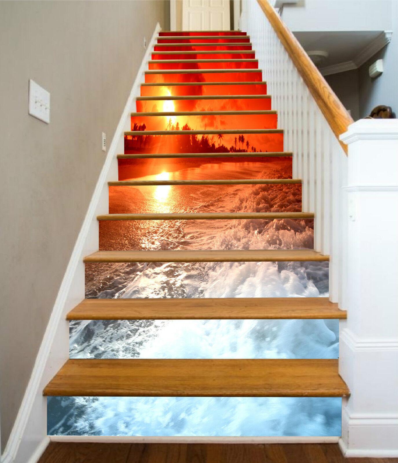 3D Schöne Strand 29 Stair Risers Dekoration Fototapete Vinyl Aufkleber Tapete DE