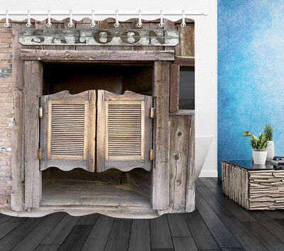 Wood Door Shower Curtain 3D Old Western Theme Swinging Saloon Doors Print 72X72