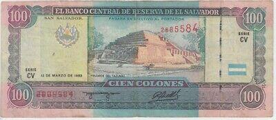 EL SALVADOR 5 COLONES 1980 P 132 UNC WITH TONE