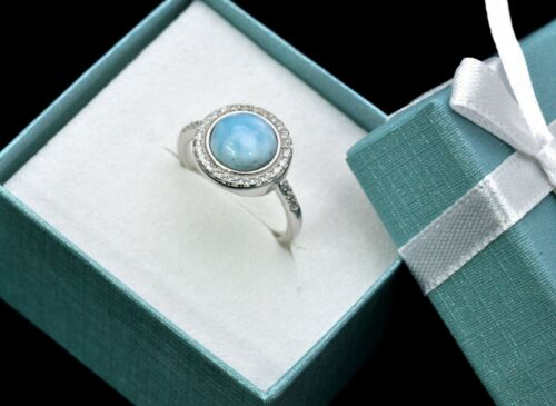 Natural Larimar Pave White Sapphire Combination Solid .925 Sterling Silver Ring