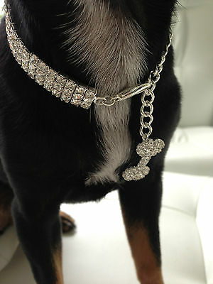 Luxury Diamond 3row dog/pet Bling jewellery/collar.Med. Length 25cm+7cm extender