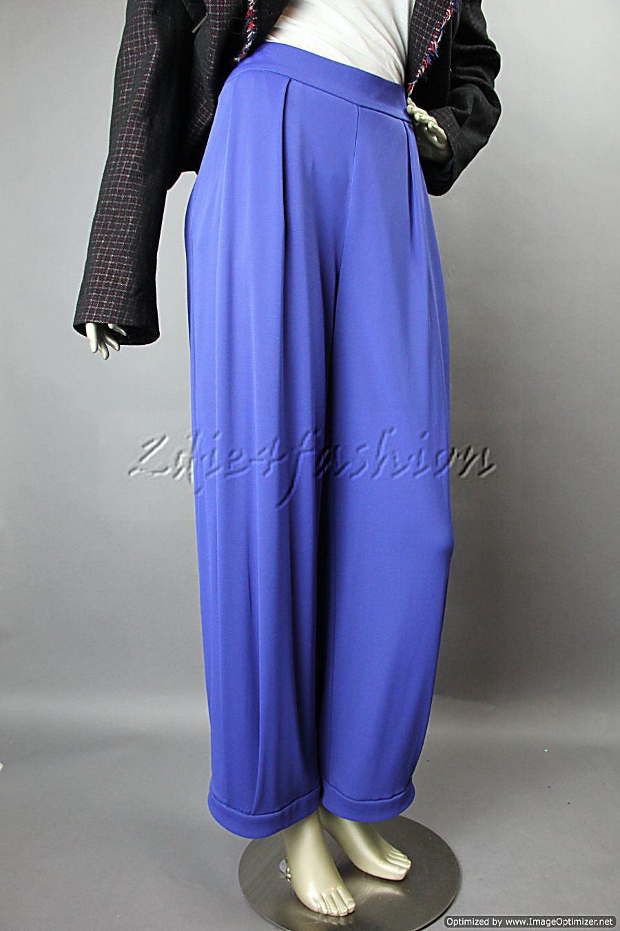 1395 New GIORGIO ARMANI bluee Wide Leg Pleat Stretchy Crop Pajama Pants 12 46
