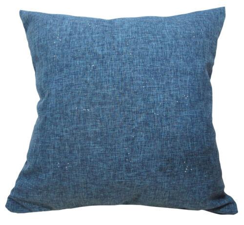 Qc212a Deep Blue Sparkle Argent Mélange de coton Housse de coussin Taille personnalisée *