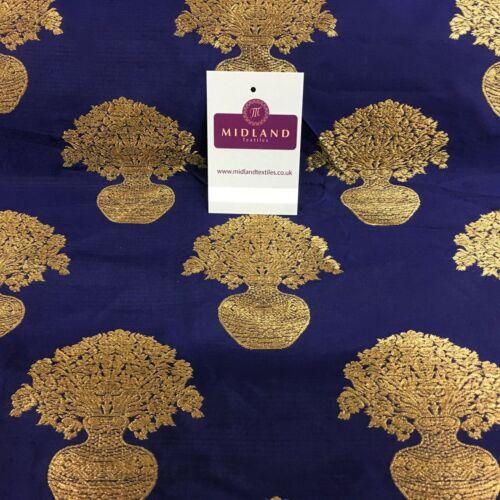 Indian Gold Flower Pot Banarsi brocart Gilet tissu 110 cm Large MN1101 Mtex
