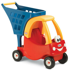 Little-Tikes-Cozy-Coupe-Kids-Pretend-Play-Fun-Grocery-Store-Shopping-Cart-Red