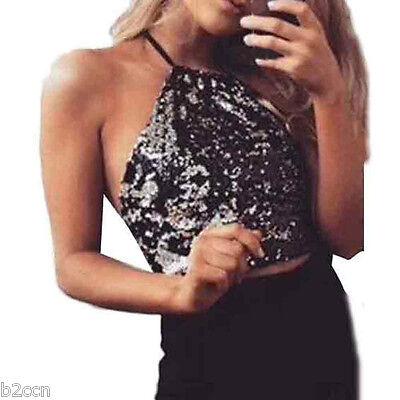 Women's Sequins Bralette Bralet Bra Bustier Halter Neck Crop Top Cami Tank Tops