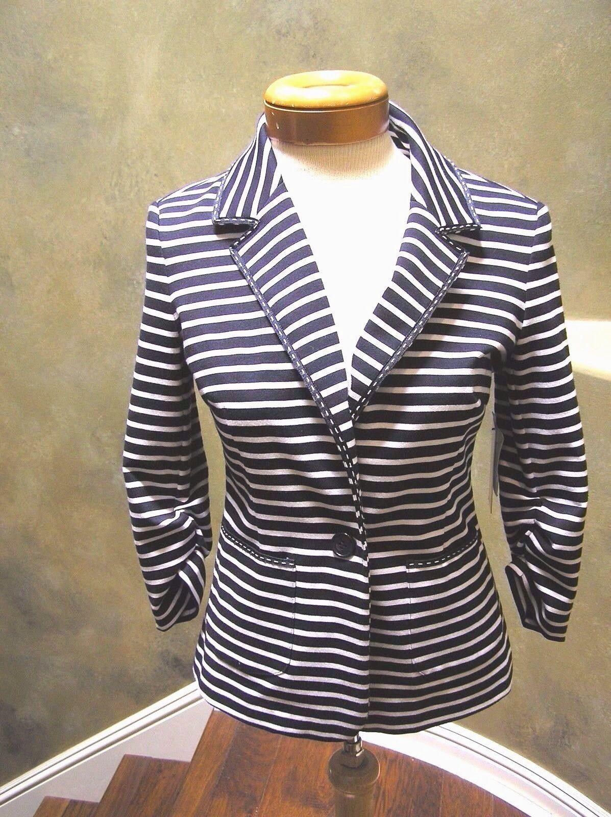 NWT Laundry Stretch Navy white stripe One button blazer w collar piping 4 6