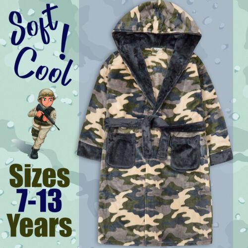Garçons Camouflage robe taille 7-8 9-10 11-12 13 Ans Polaire en Peluche Peignoir à Capuche
