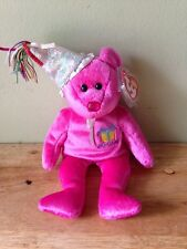 TY Beanie Baby January Birthday Bear  Mint Hot Pink w/Hat & Ribbons With Tag.