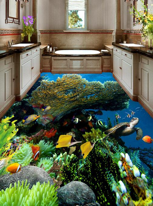 3D Pesci Corallini 378 Pavimento Foto Wallpaper Murales Muro Stampa Decalcomania