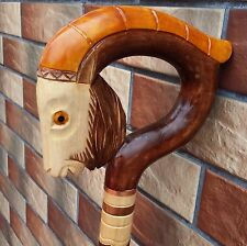 GOAT Cane Walking Stick Wooden Handmade Wood Carving Exclusive Gift=).......