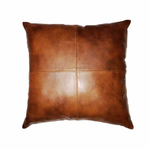 Genuine Lambskin Leather Cushion Pillow Cover Sofa Bed Decorative Tan Color