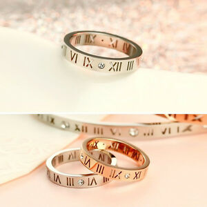 Men Women Roman Rhinestone Titanium Numerals Stainless Steel Band Ring 4mm Width