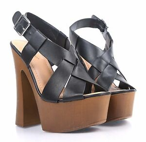 "BAMBOO Fashion Faux Leather Double Buckles Straps Open Toe Womens 1.75/"" Thick Cuban Heels Sandals Shoes"
