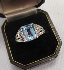 Art Deco Design Aquamarine & Diamond Ring in 9ct White Gold