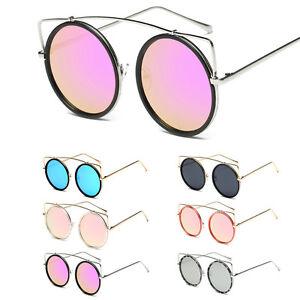 acc3963b424af Retro Lady Cat Eye Sunglasses Flat Mirrored Round Lens Metal Frame ...