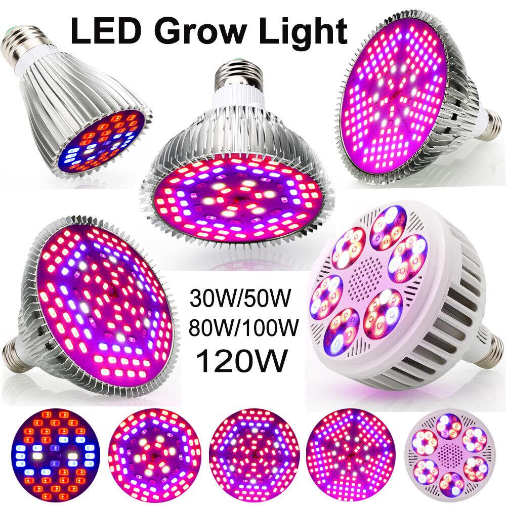 4W-120W LED Grow Light Vollspektrum Pflanzenlampe Hydroponik Gemüse Blaume Licht