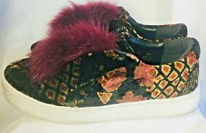 616b1046165b Sam Edelman Leya 7.5 M Pom Pom Sneakers Velvet Faux Fur Laceless