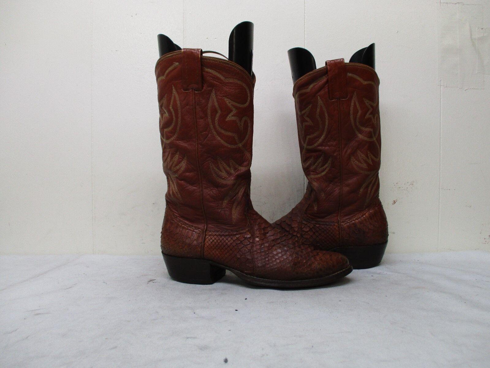 NOCONA  marron Snake Leather Cowboy bottes Mens Taille 8.5 D Style 9053 USA